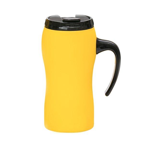 Tazza da viaggio personalizzata a chiusura ermetica con manico BC-903T giallo