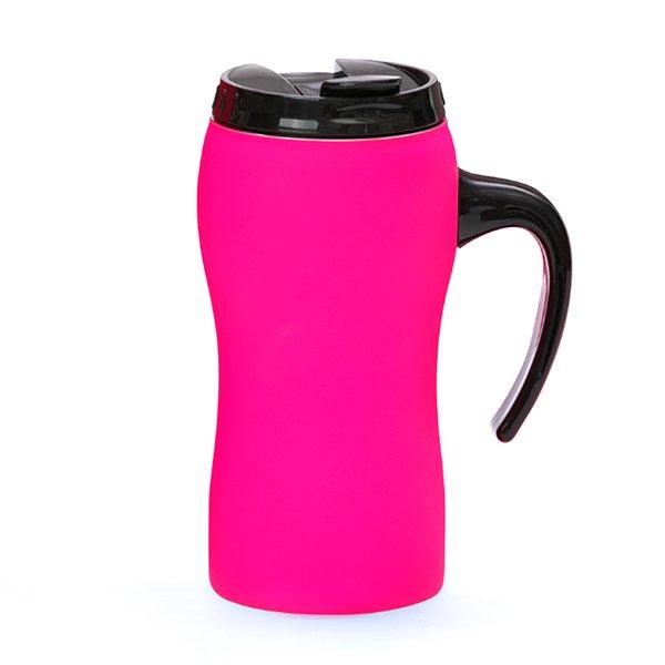 Tazza da viaggio personalizzata a chiusura ermetica con manico BC-903T rosa