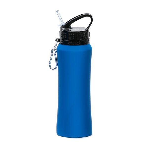Borraccia in acciaio con beccuccio e moschettone personalizzata BC-904 blu