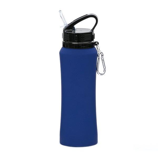 Borraccia in acciaio con beccuccio e moschettone personalizzata BC-904 blu scuro