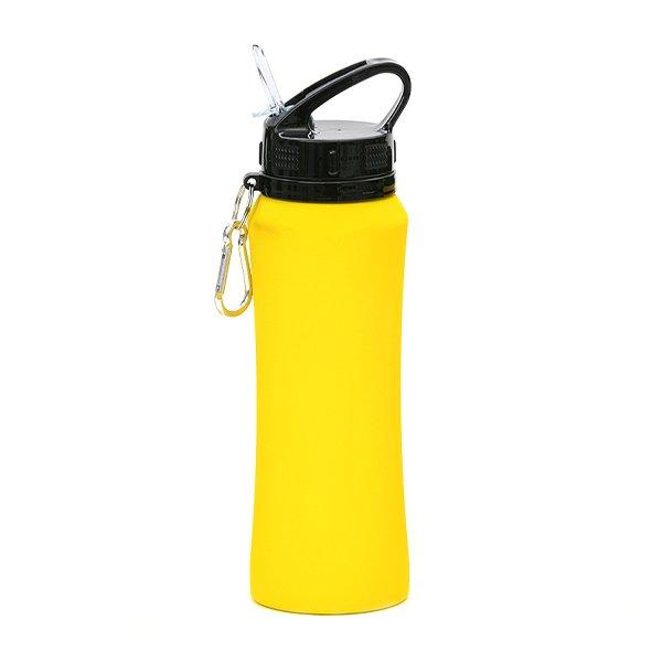 Borraccia in acciaio con beccuccio e moschettone personalizzata BC-904 giallo