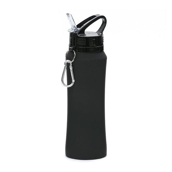 Borraccia in acciaio con beccuccio e moschettone personalizzata BC-904 nero
