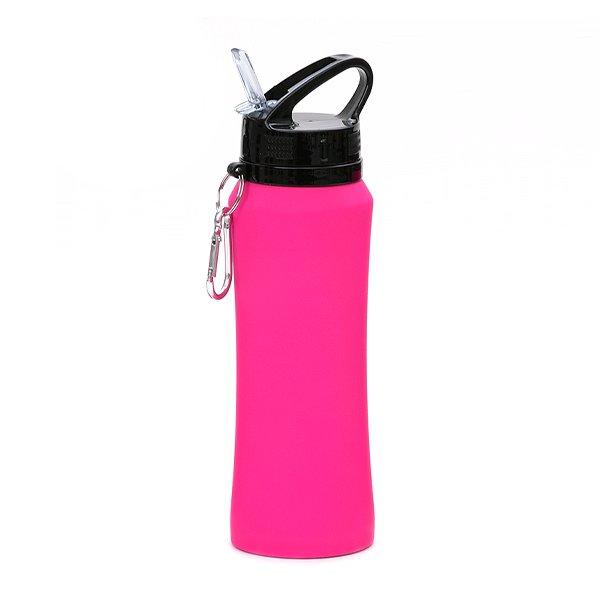 Borraccia in acciaio con beccuccio e moschettone personalizzata BC-904 rosa