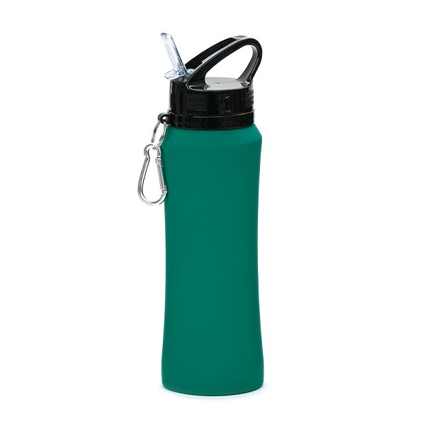Borraccia in acciaio con beccuccio e moschettone personalizzata BC-904 verde